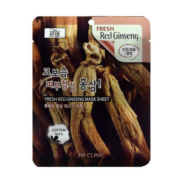 Combo 10 Túi Mặt nạ dưỡng da - Mặt nạ giấy chiết xuất từ nhân sâm đỏ 3W CLINIC Hàn Quốc 23mlx10