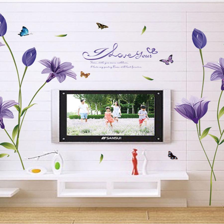 decal dán tường hoa bách hợp tím sk9122