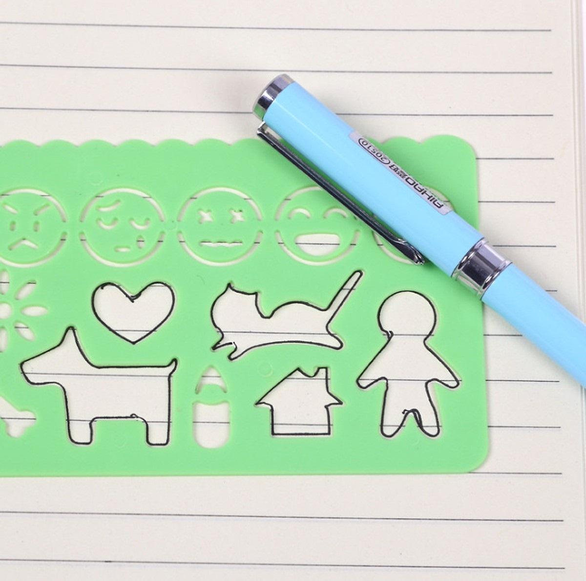 Bộ thước kẻ in hình cho bé tập vẽ - 4 khuôn