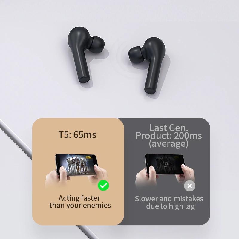 Tai Nghe Không Dây Bluetooth 5.0 True Wireless QCY-T5 - Dock Sạc 380mAH - Cảm Ứng - Đàm Thoại - Chống Ồn - Hàng Chính Hãng (Tặng Túi Đựng Kèm)