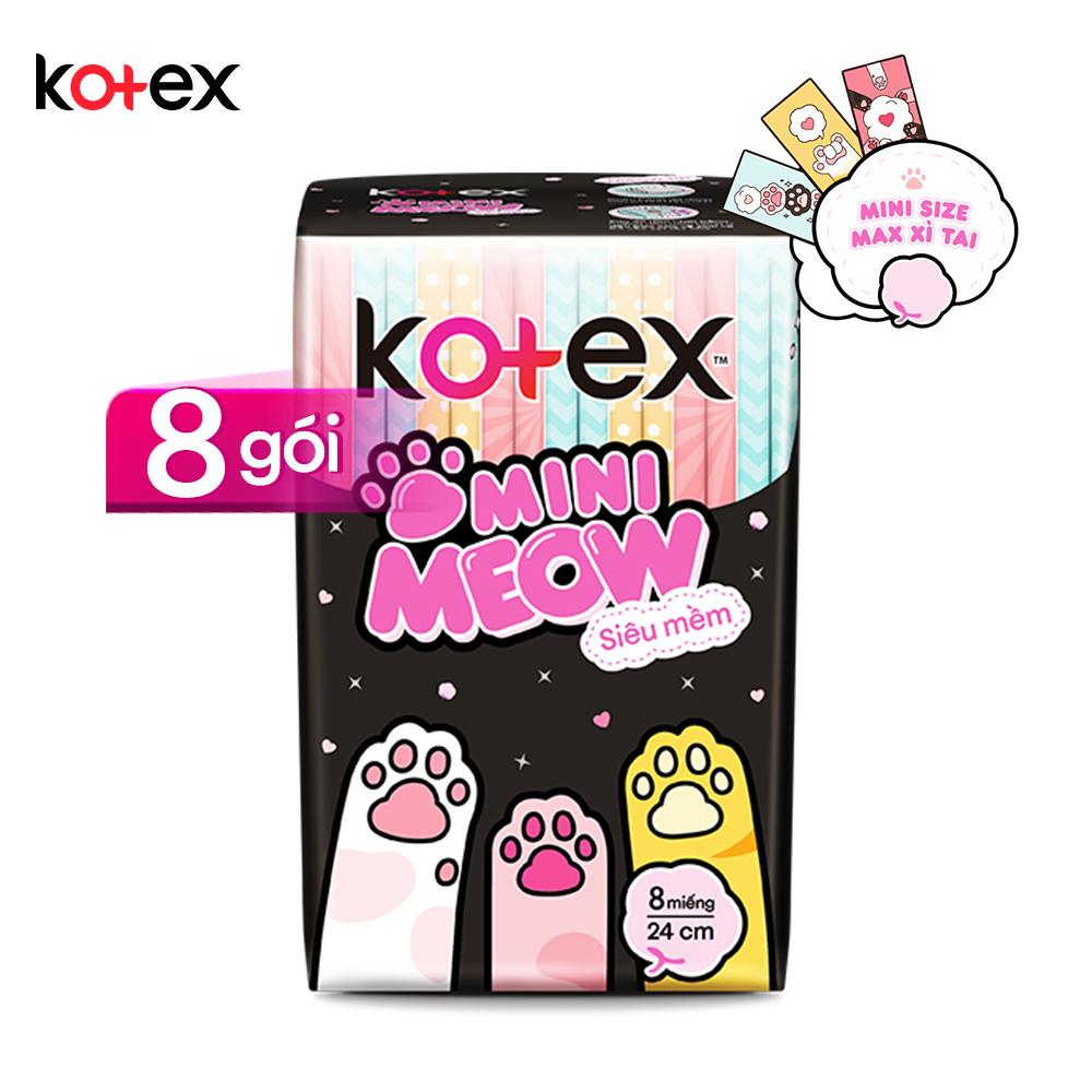 Combo 8 Băng vệ sinh Kotex Mini Meow Siêu Mềm SMC 8 miếng