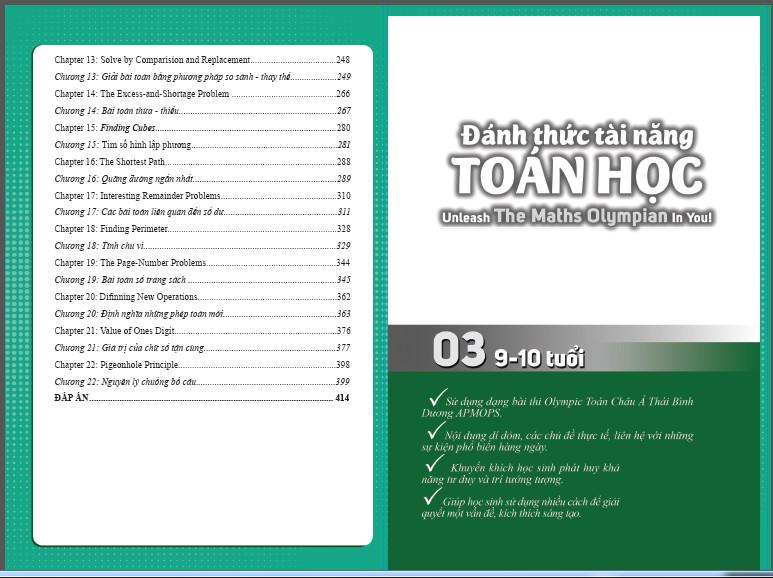 Combo 2 cuốn sách Đánh thức tài năng toán học tập 3 và tập 4 - dành cho trẻ  lớp 3-4-5  (từ 9 đến 12 tuổi)