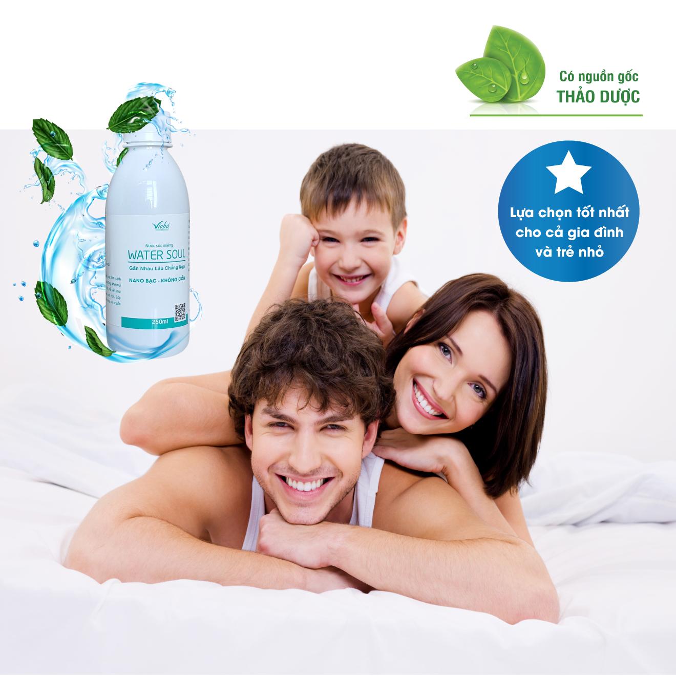 Nước súc miệng Water Soul  làm sạch răng, miệng và lợi mảng bám răng. Khử mùi hôi miệng do thức ăn... cho hơi thở thơm mát. Sản phẩm của Vioba, chai 250ml.