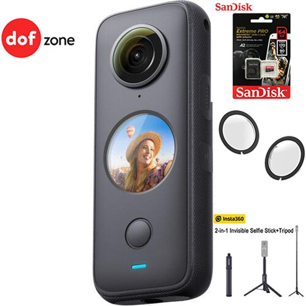 Máy quay Insta360 ONE X2 kèm Thẻ nhớ 64GB + Lens guard + Tripod Insta360 2-in-1 - Hàng chính hãng