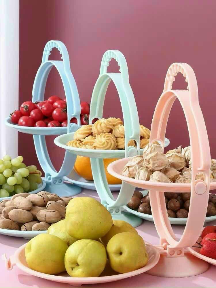 Set đĩa đựng trái cây bánh kẹo gấp gọn mẫu mới 2020 ( giao mầu ngẫu nhiên )
