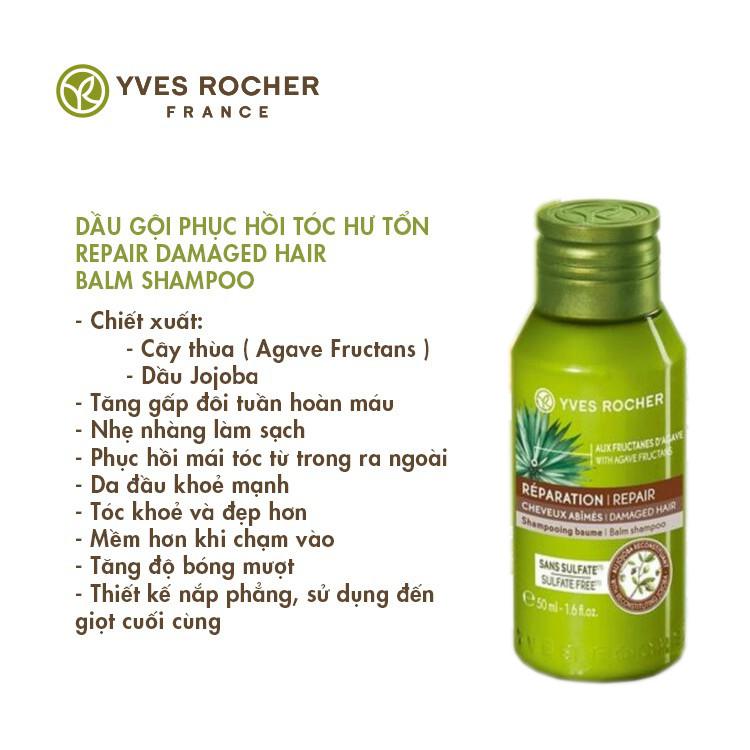 [Mini Size] Dầu Gội Phục Hồi Tóc Hư Tổn Yves Rocher Repair Damaged Hair Balm Shampoo 50ml [Mẫu mới 2019]