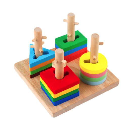 Đồ chơi thả hình khối gỗ học 3D 4 cột có gai