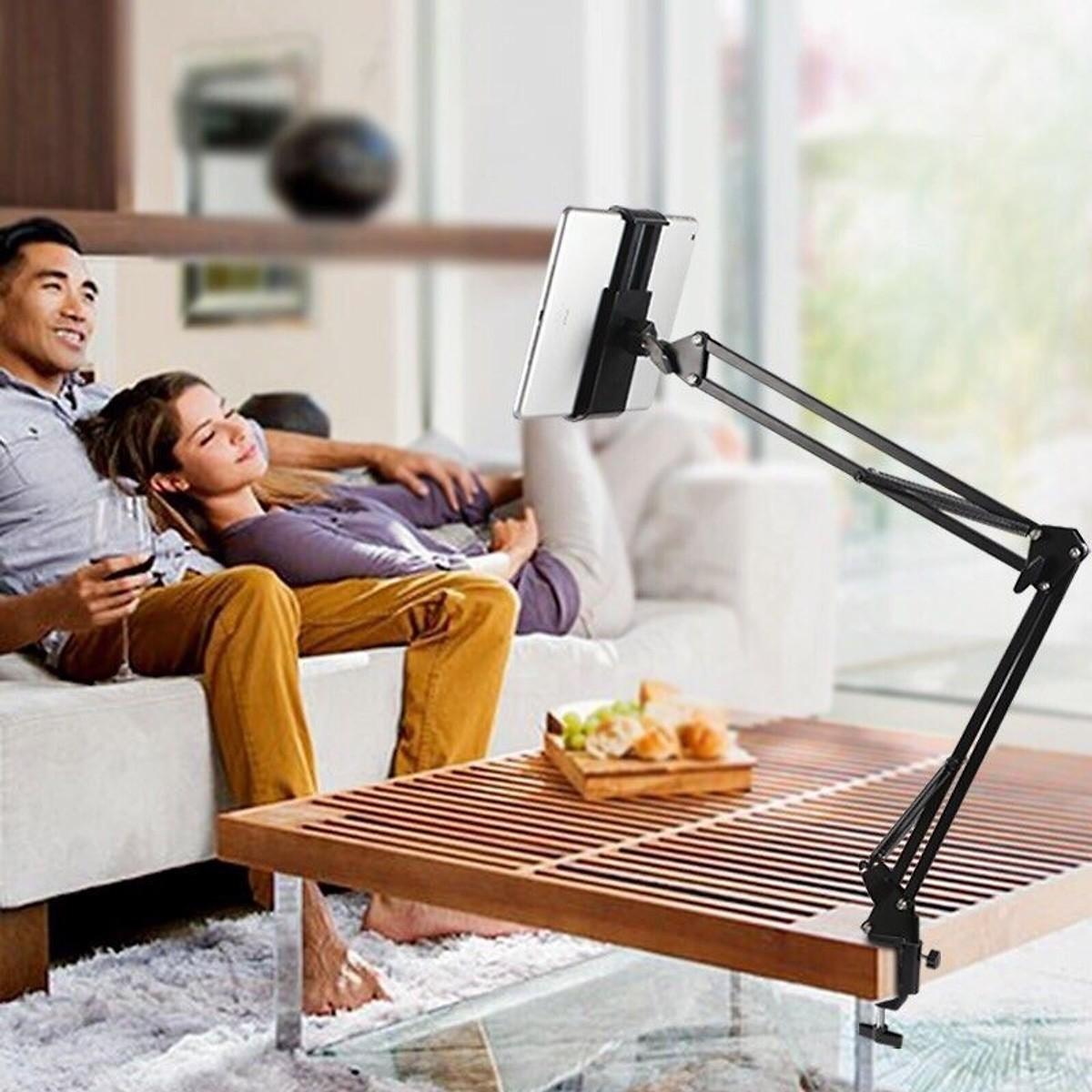 Giá đỡ thông minh cho điện thoại, máy tính bảng có chân kẹp đầu giường, cạnh bàn - Tặng giá hình thú để điện thoại