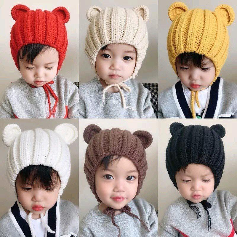 Mũ Len Cho Bé Hình Tai Gấu Ngộ Nghĩnh, Nón Len Tai Chuột Dễ Thương Cho Bé Trai Bé Gái