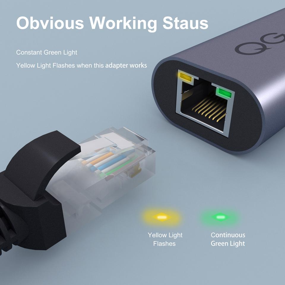 Bộ chuyển đổi QGeeM USB C sang Ethernet, cáp chuyển đổi Type C sang Gigabit Ethernet, Thunderbolt 3 sang RJ45 cho MacBook Pro, RJ45 sang USB C-Hàng Chính Hãng