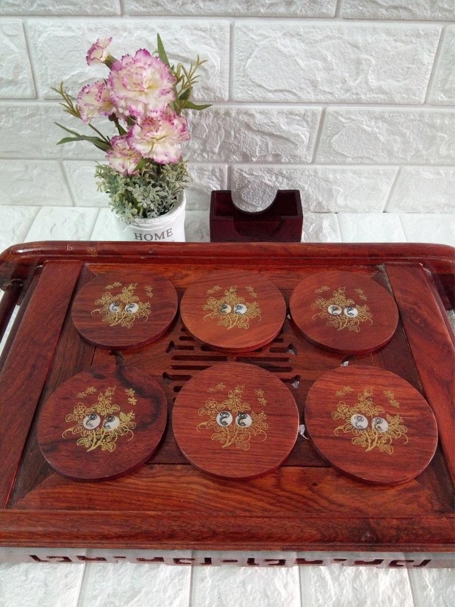 Bộ 6 miếng đế lót ly hình tròn khảm mặt gỗ hương - LLK04