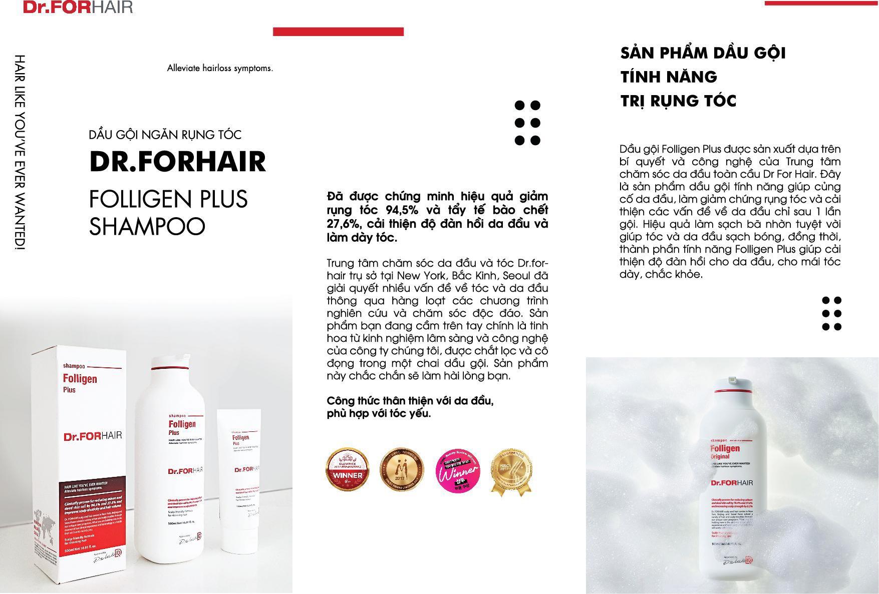 Bộ 2 chai Dầu gội đầu Hàn Quốc Dr.FORHAIR Folligen Plus Shampoo 500ml ngăn ngừa rụng, giúp phục hồi nang chân tóc và kích thích mọc tóc