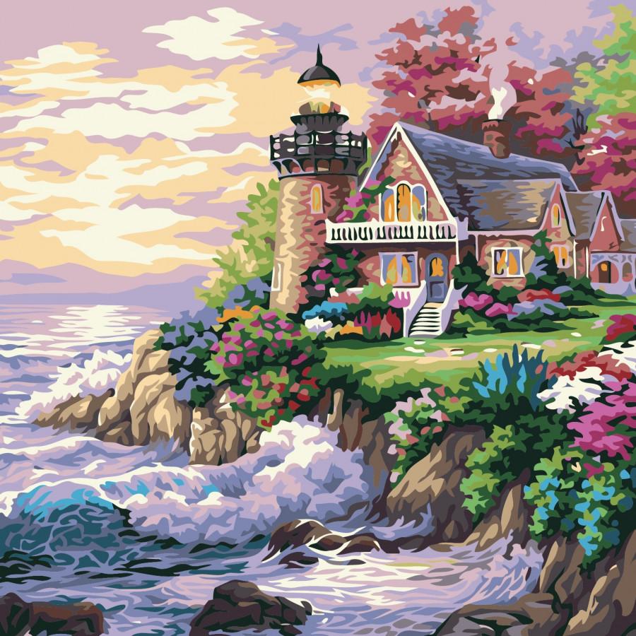 Tranh sơn dầu số hóa ngôi nhà bên hải đăng 36