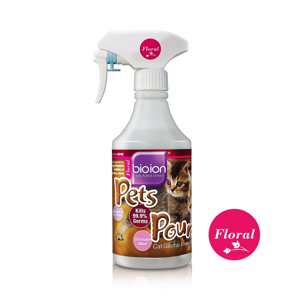 Chai xịt Bioion Pets Pounce Cats Sanitizer 500ML - khử trùng, khử mùi cho mèo (Hương Floral)