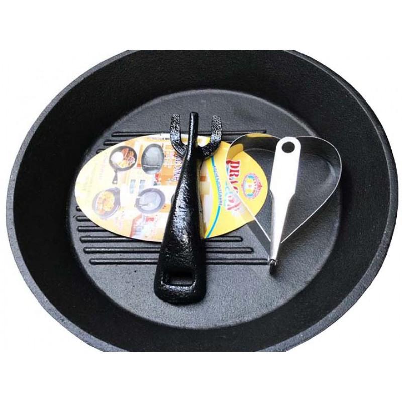 Bộ chảo gang tròn chống dính kèm đế lót gỗ tròn làm bít tết