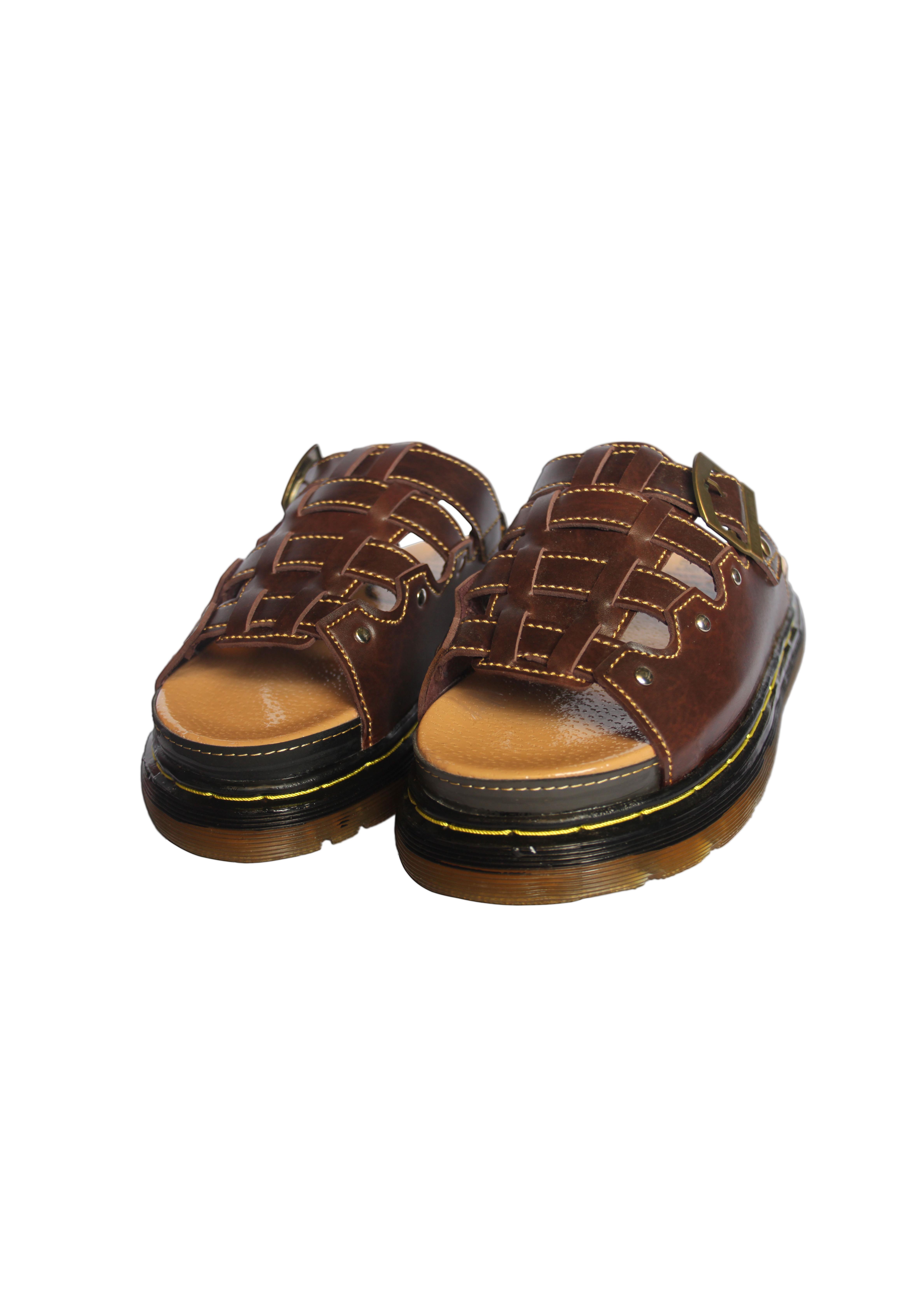 Giày dép nam Dr quai ngang tăng 3 phân chiều cao - NMH-DR-Luoi-De (Nâu Đen Sậm)