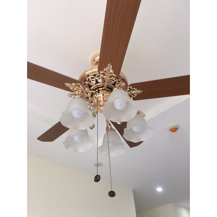Quạt trần đèn 5 cánh gỗ cao cấp - quạt trần đèn trang trí cao cấp