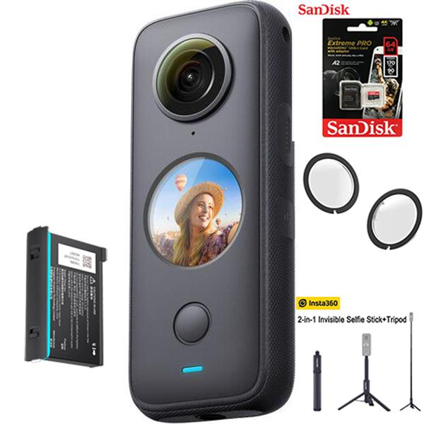 Máy quay Insta360 ONE X2 kèm Thẻ nhớ 64GB + Lens guard + Tripod Insta360 2-in-1 + Pin - Hàng chính hãng