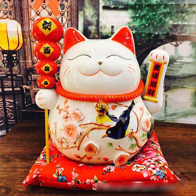 Mèo thần tài vẫy tay cầm hồ lô 25cm