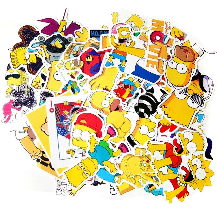 Sticker Simpson Hoạt Hình - Bộ 50 miếng