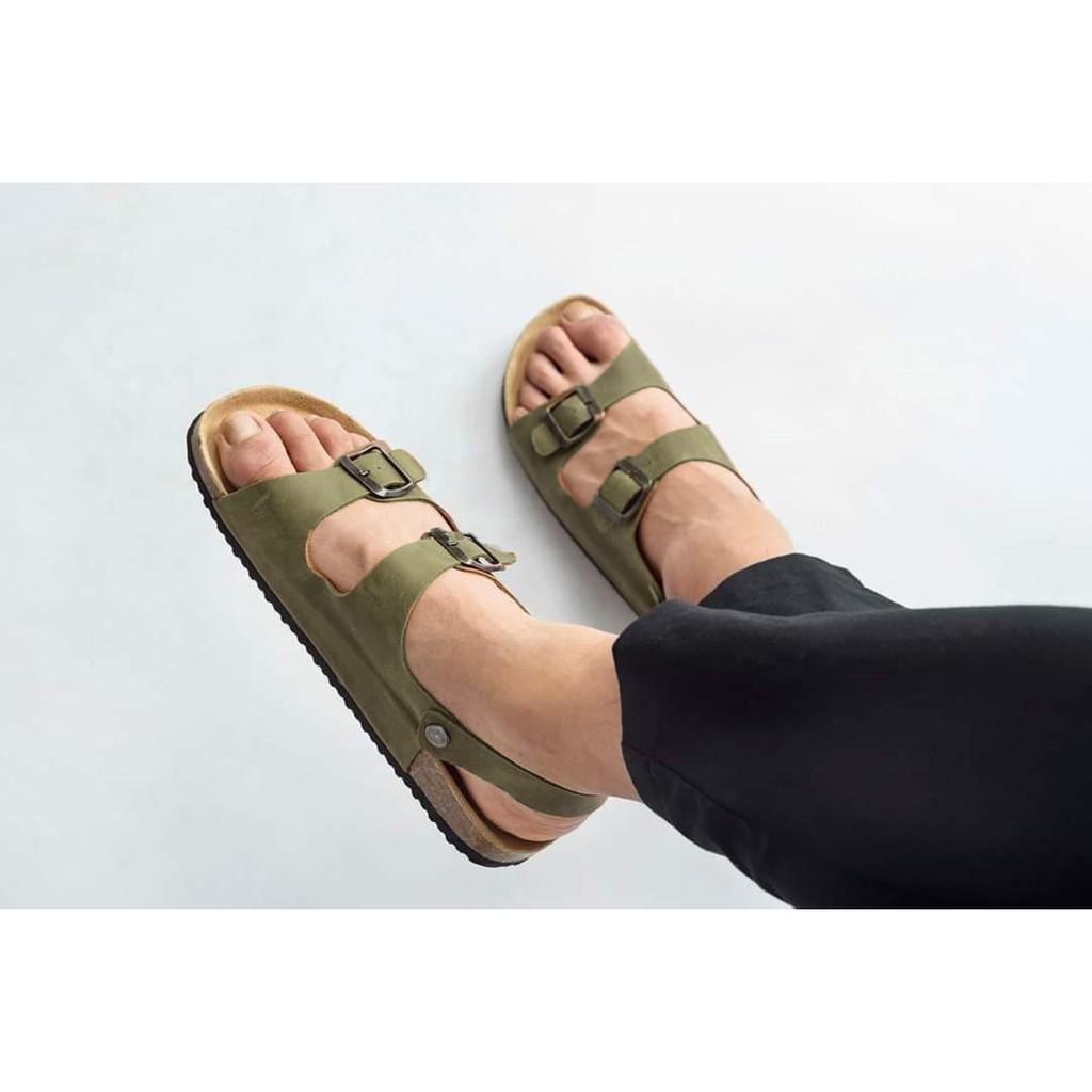 Sandal Huucuong 2 khóa da bò rêu