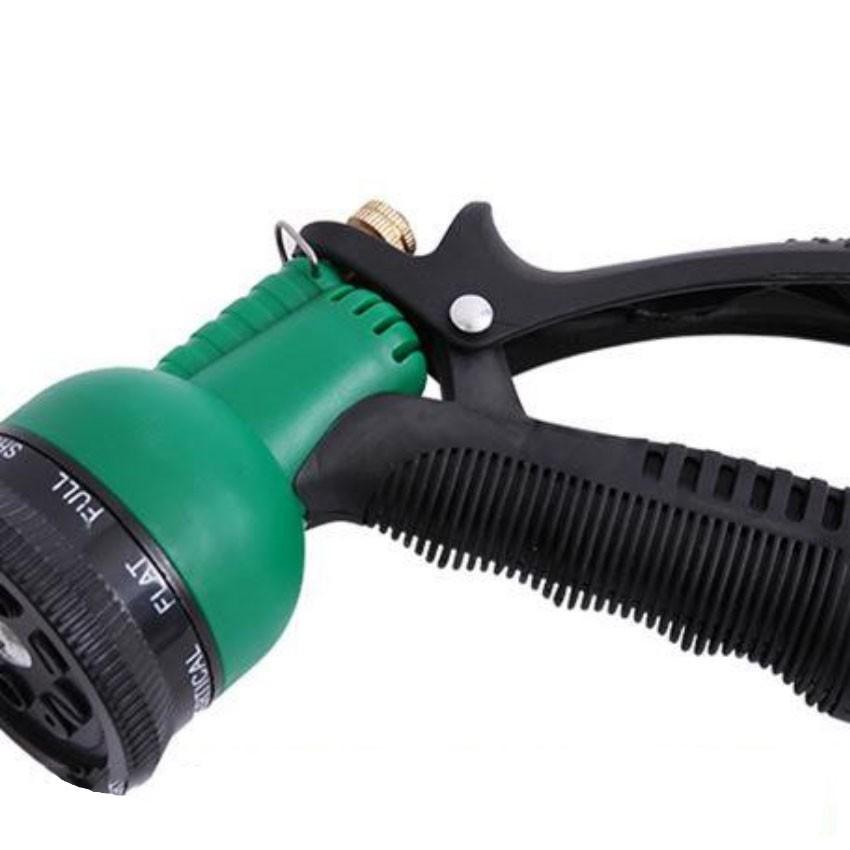 Vòi xịt rửa xe,Vòi phun nước tưới cây tăng áp thông minh 8 chế độ 815621 (cút vàng,nối đen - dây xanh)