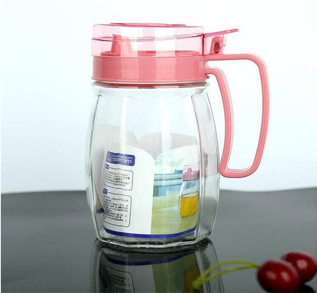 Set 5 bình đựng gia vị thủy tinh nhà bếp tặng cốc uống nước lúa mạch gấp gọn
