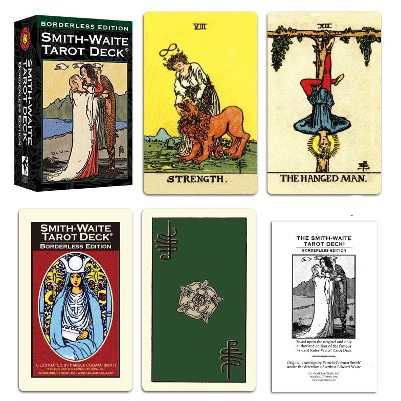 Combo Bộ Bài Bói Smith Waite Tarot – Borderless Edition Cao Cấp và Túi Nhung Đựng Tarot