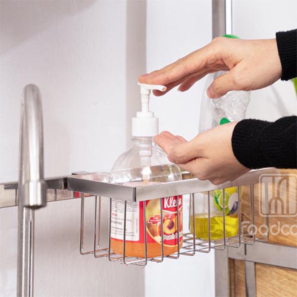 Kệ chén bát đa năng Foodcomkích thước 106 cm 2 tầng dùng cho bồn đôi bằng inox cao cấp không gỉ, giá để bát trên bồn rửa ráo nước cho nhà bếp sạch sẽ