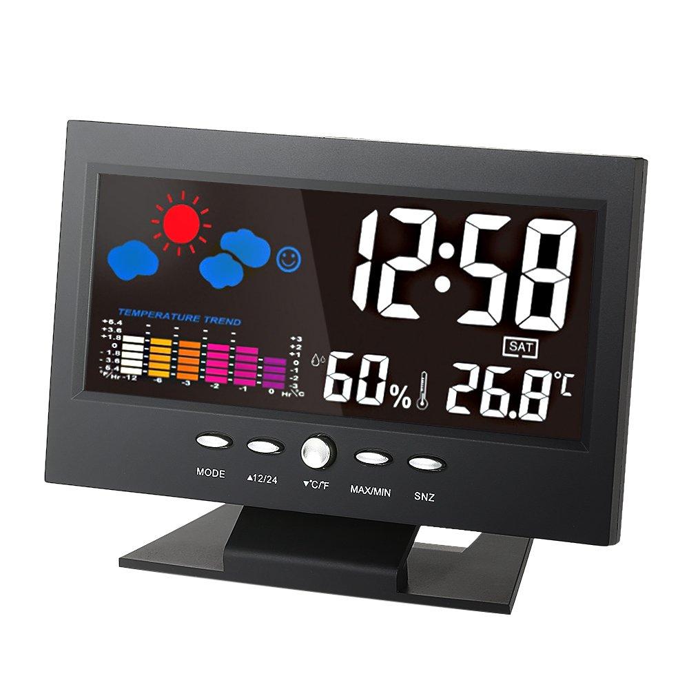 Đồng hồ để bàn LED có lịch ngày đo nhiệt độ & độ ẩm