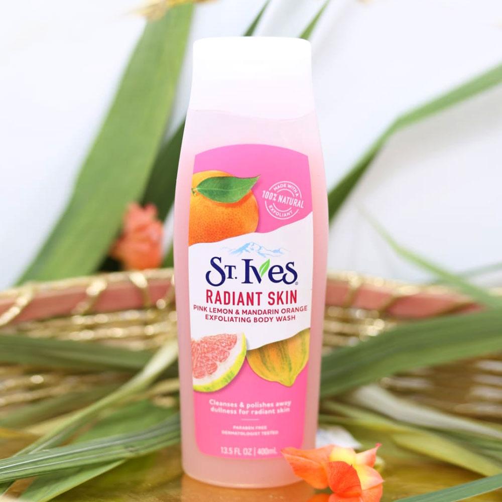 Sữa TắmHương Cam Chanh  St.Ives Pink Lemon & Mandarin Orange Exfoliating Body Wash 400ml