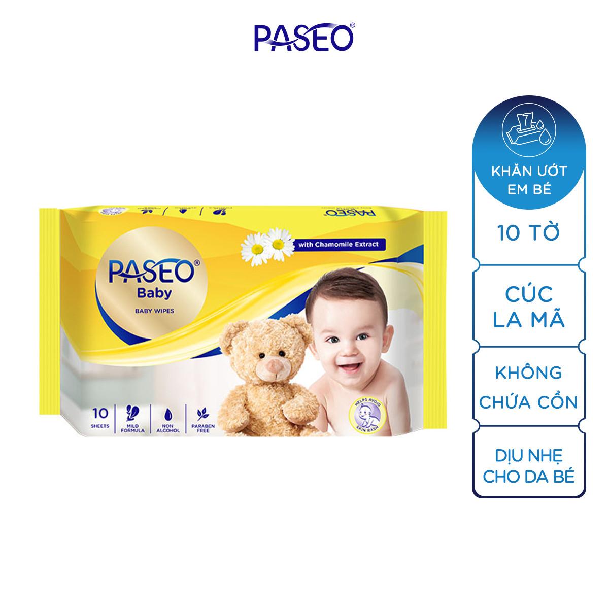 Combo 2 gói khăn ướt em bé Paseo 10 tờ chiết xuất tinh dầu hoa cúc La Mã