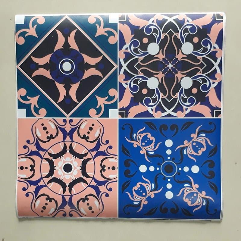 Decal dán tường gạch bông hoa văn cổ điển màu xanh hồng – WD143