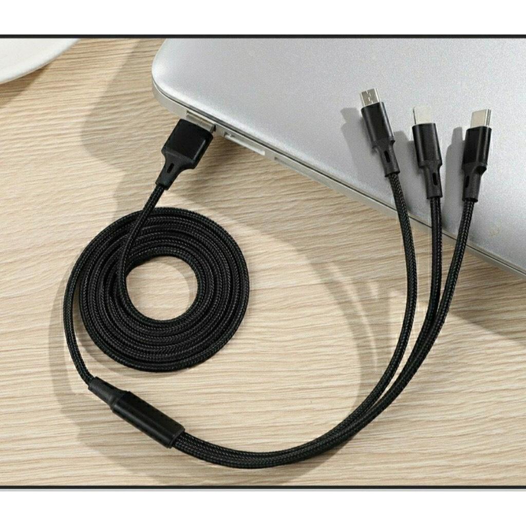 Cáp Sạc Nhanh 3 Trong 1 đa năng _Lightning_Micro USB_Type C Dây Dù Siêu Bền