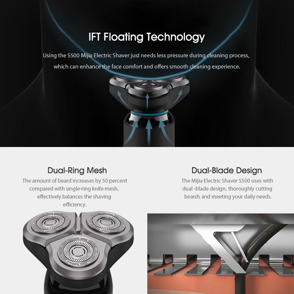 Xiaomi Mijia Electric Shaver S500 Waterproof Men Razor Beard Trimmer 3 Head Flex Dry Wet Washable Main-Sub Dual Blade | Tiki