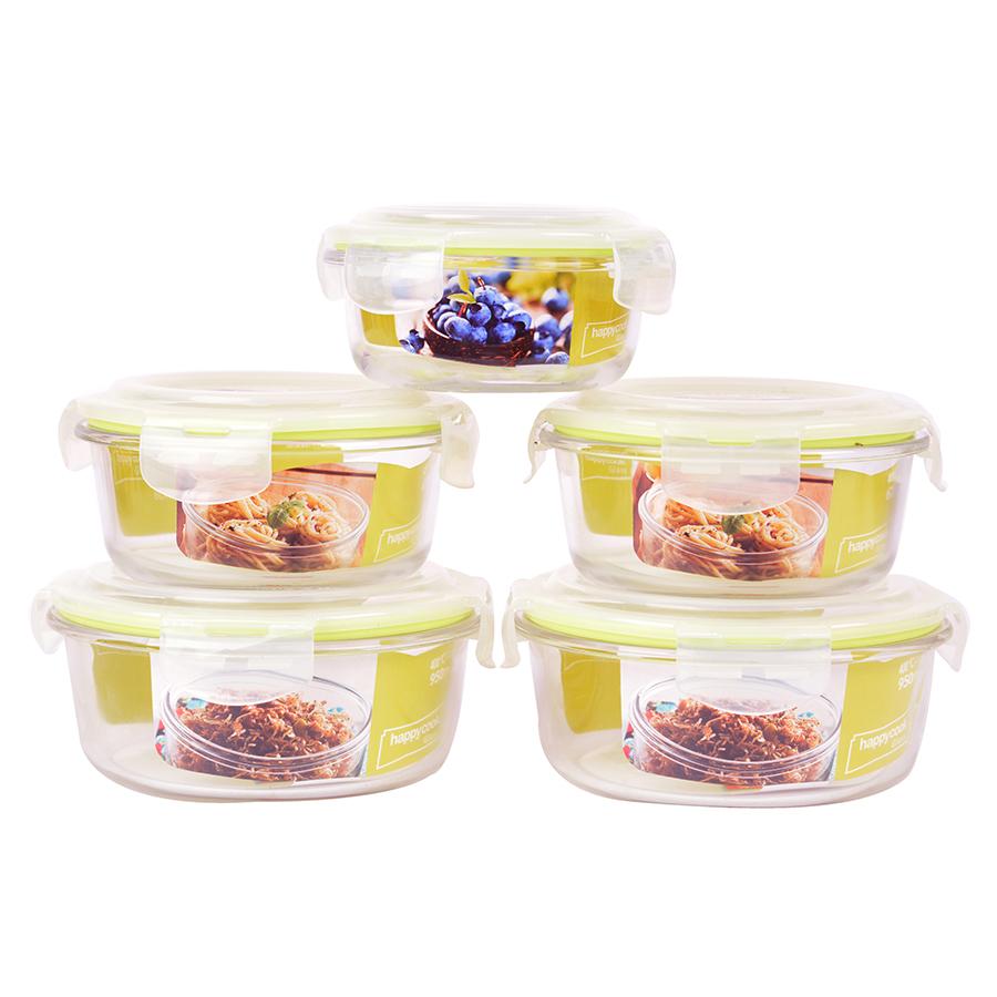 Bộ 5 Hộp Thủy Tinh Chịu Nhiệt Nắp Gài Hình Tròn Glass Happy Cook HCG-05C