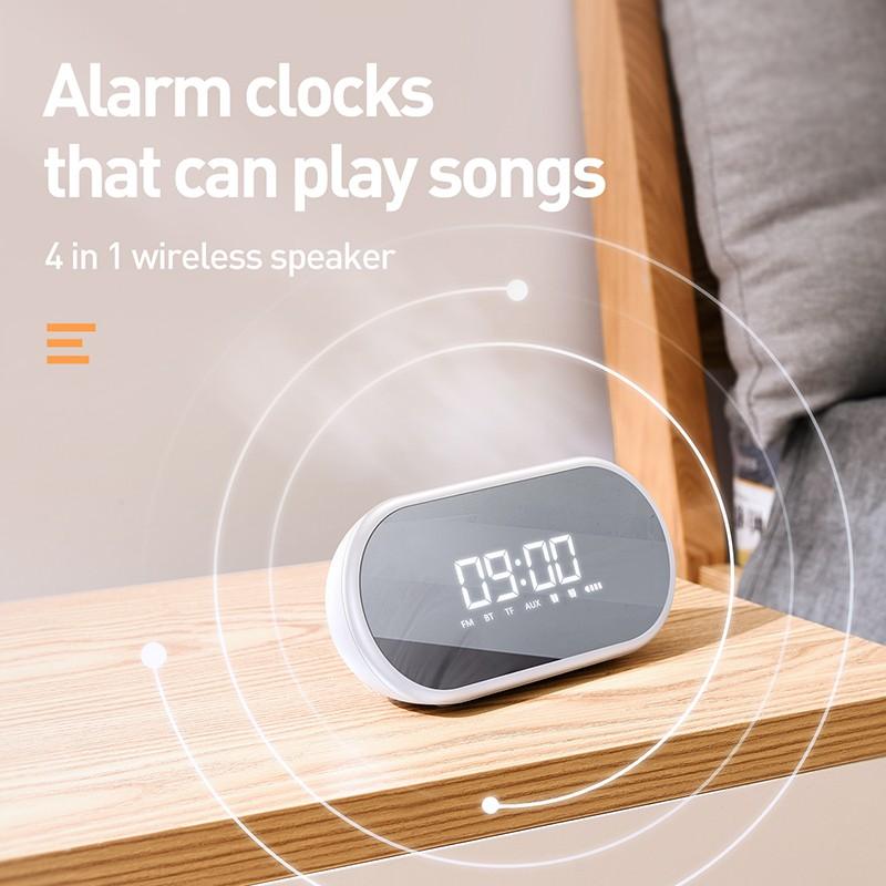 Loa bluetooth cao cấp Baseus Encok E09 có thể chơi nhạc qua WIFI âm thanh 3D chân thật sống động tích hợp đồng hồ báo thức - Hàng chính Hãng