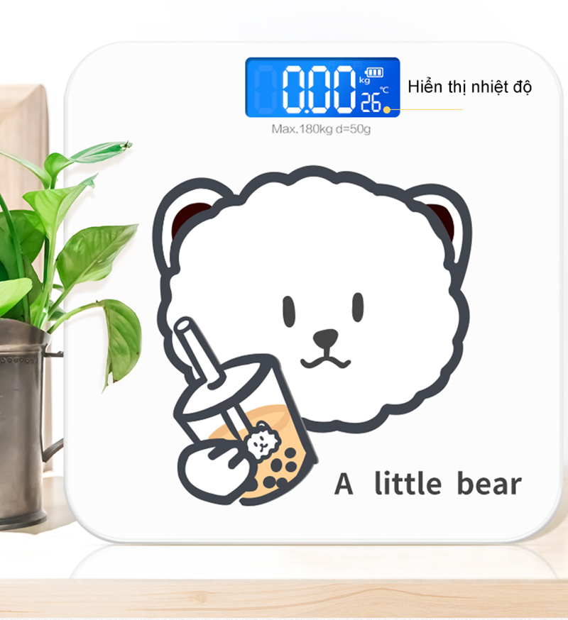 Cân sức khỏe điện tử Gấu Trắng - Màn LCD - Pin AAA