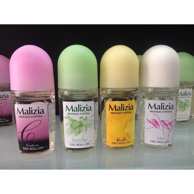 Lăn khử mùi hương vani  Malizia Vanilla 50ml (nữ) tặng kèm móc khóa