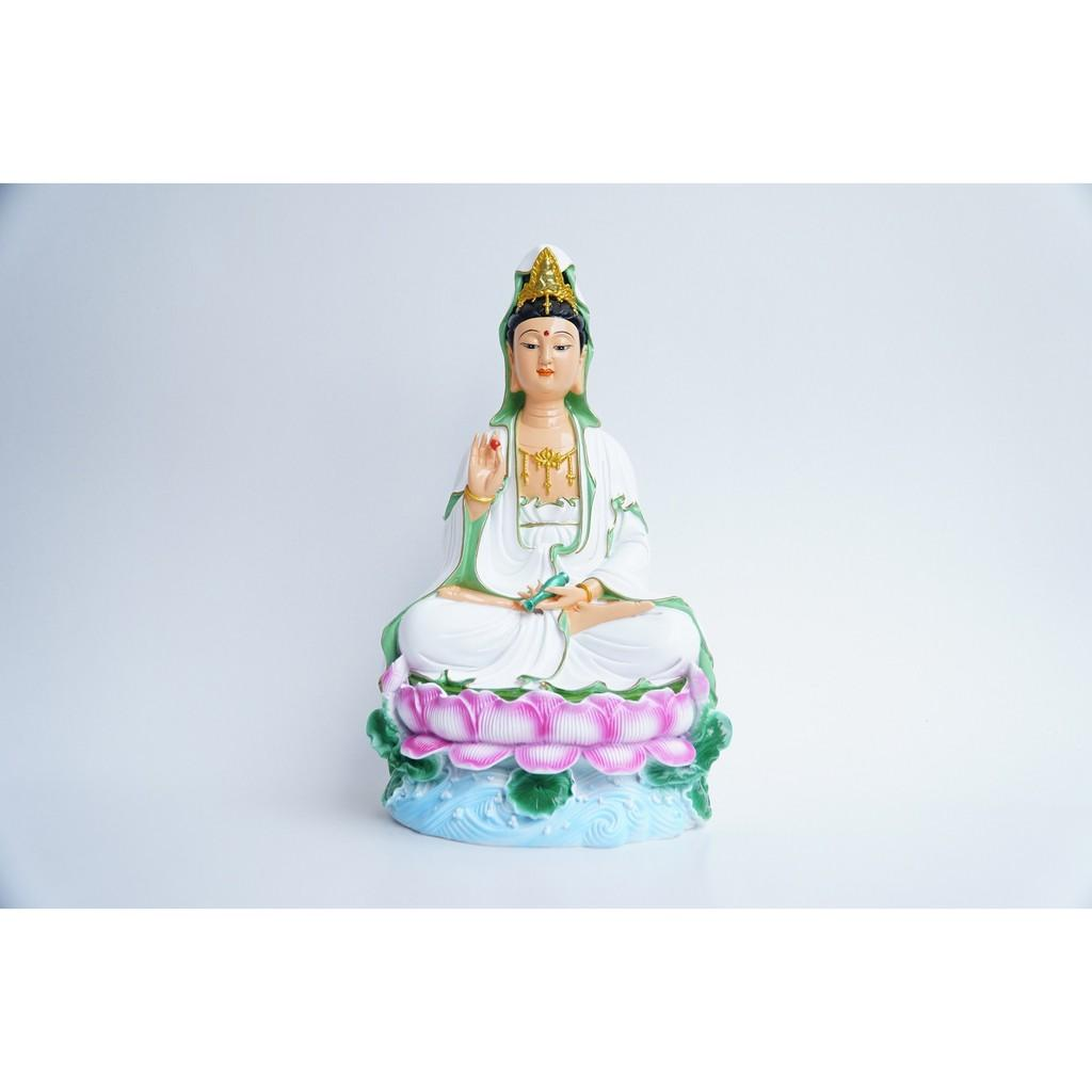 Tượng Phật Quan Thế Âm Bồ Tát ngồi vẽ sắc màu nguyên khối - Cao 30cm