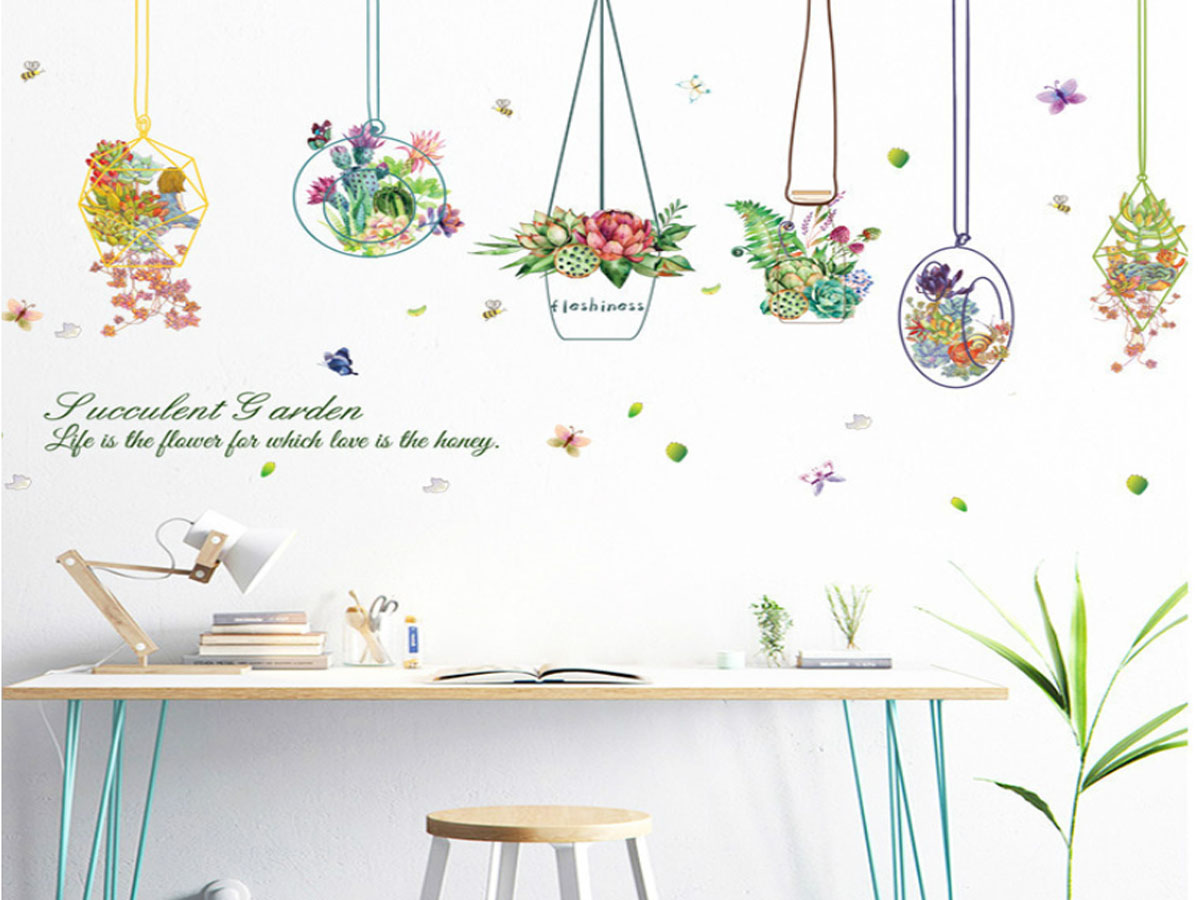 Decal dán tường giỏ hoa xl7226