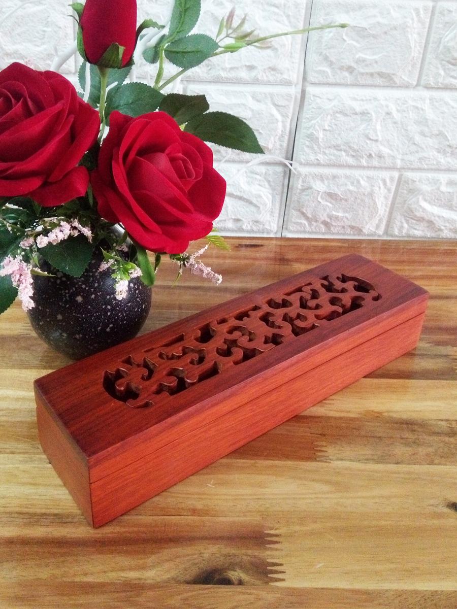 Hộp đựng đũa,muỗng,bút cọ,nhang trầm hương gỗ hương đỏ HDL01