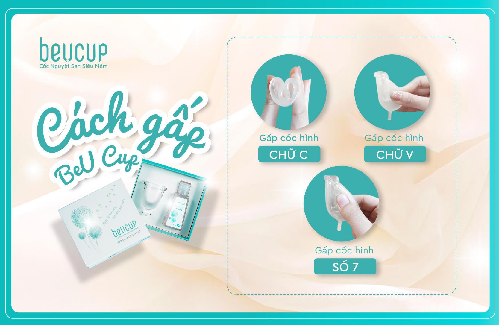 Bộ sản phẩm Cốc nguyệt san BeUcup 100% Silicone y tế Waker Đức kháng khuẩn siêu mềm, đạt chuẩn FDA Hoa Kỳ JN-CNS01