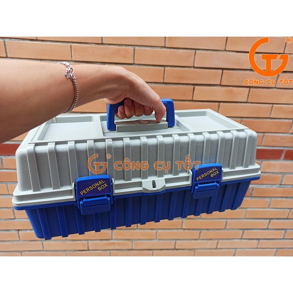 Thùng đồ nghề 3 tầng tự mở 420x200x180mm B-422 mầu xanh dương xám