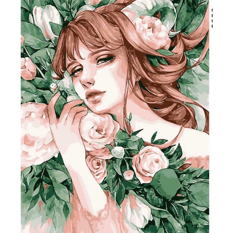Tranh sơn dầu tự tô số hoá nàng thơ hoa hồng xanh