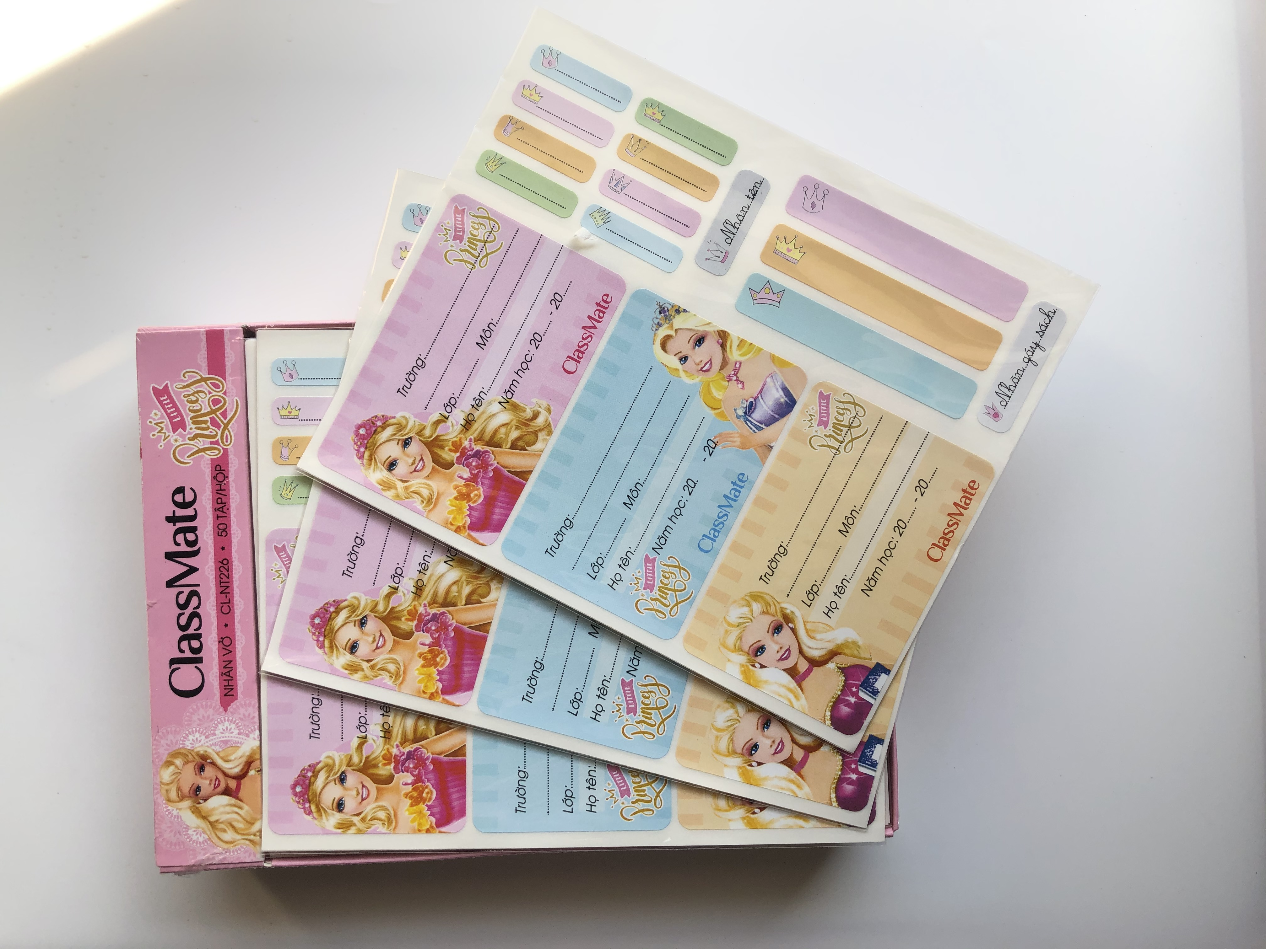 COMBO 5 tập nhãn vở Princess NT226 (màu ngẫu nhiên)