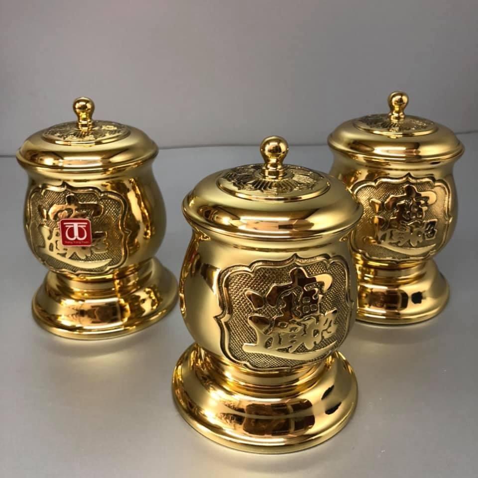 Combo 3 hũ thờ gạo muối nước bằng đồng vàng bóng