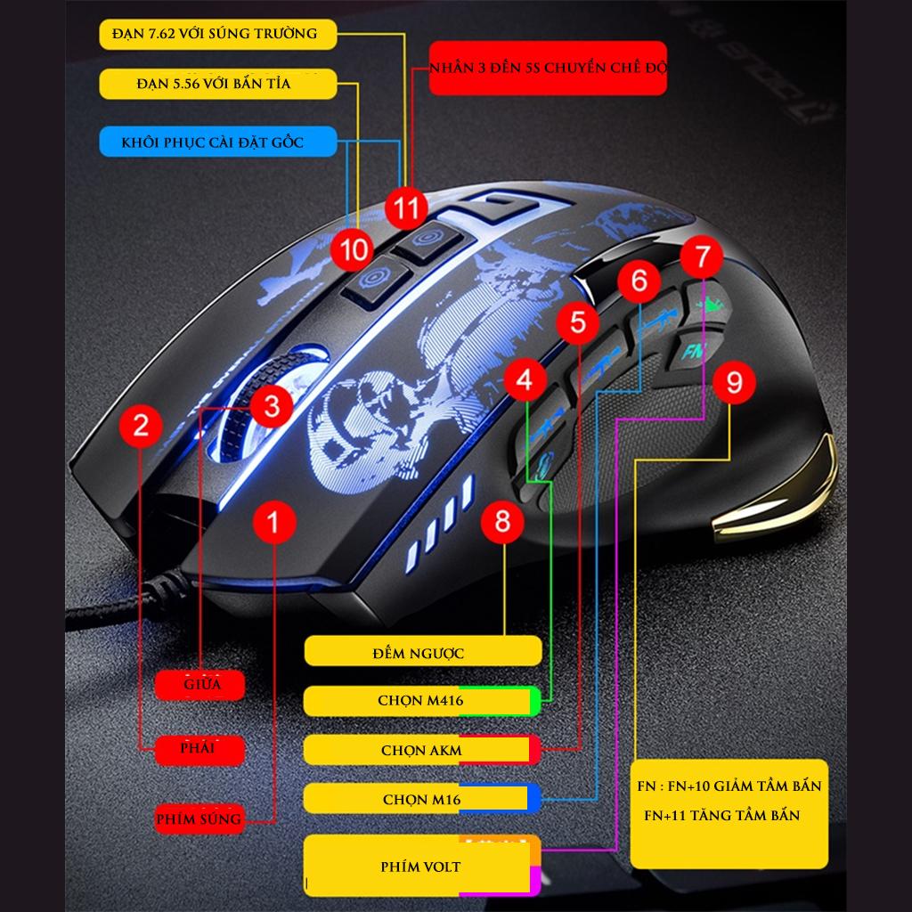 Chuột ma thuật G7 - Chuột SIÊU CHẤT hỗ trợ ghìm tâm và autotap tất cả các loại súng- Phiên bản nâng cấp 11 nút-Hàng nhập khẩu