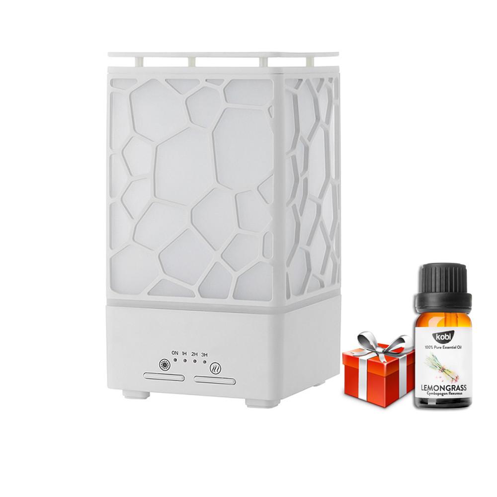 Máy khuếch tán tinh dầu siêu âm tạo ẩm Cát Tường có đèn LED 7 màu, chế độ hẹn giờ, tự đông ngắt khi hết nước, tặng kèm tinh dầu sả chanh Kobi