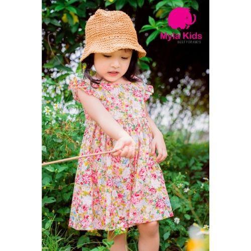 Đầm bé gái Babydoll họa tiết hoa nhí - Myla Kids- Chất liệu thô cotton, thiết kế đẹp 2021